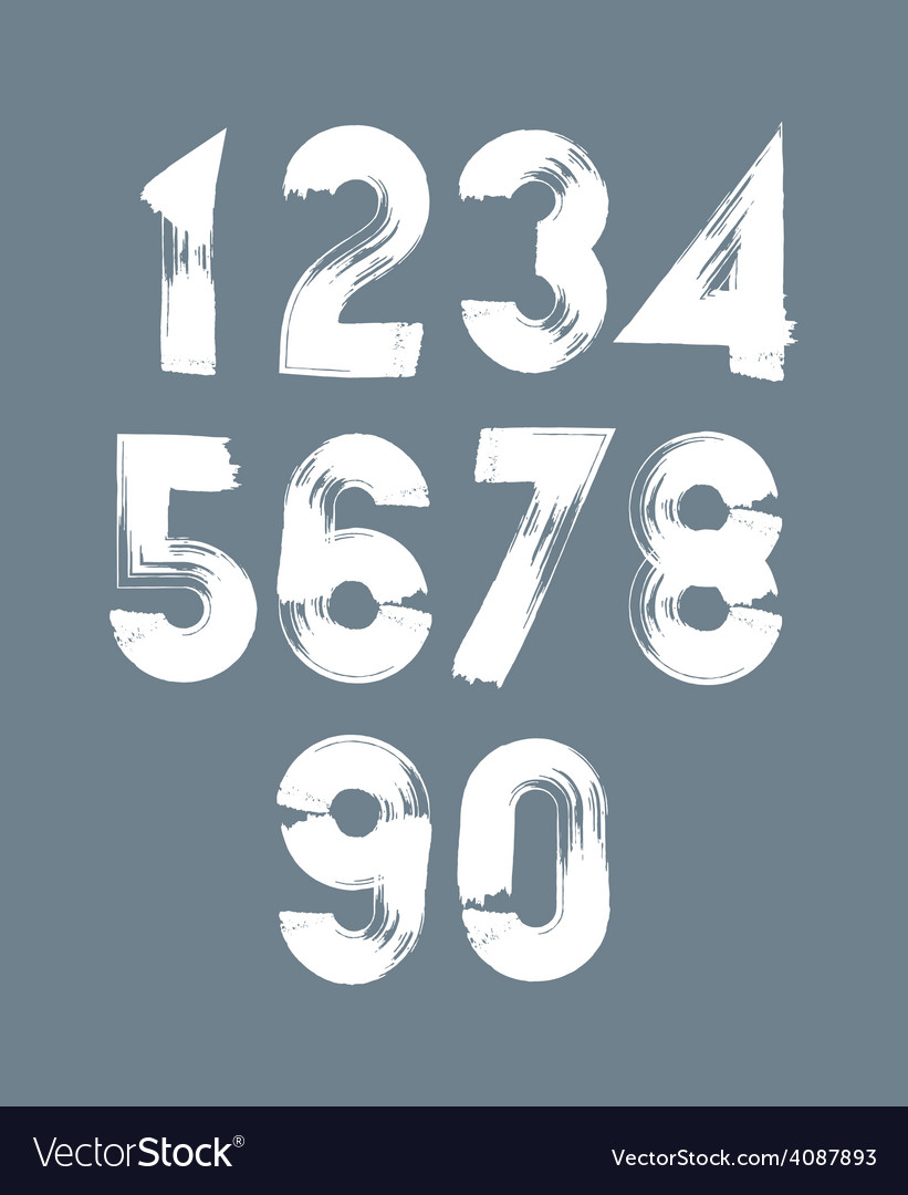 Handwritten white numbers stylish numbers set vector | Price: 1 Credit (USD $1)