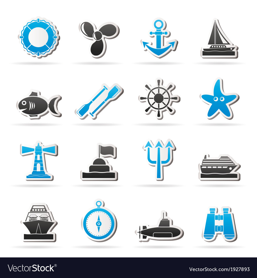 Marine and sea icons vector | Price: 1 Credit (USD $1)