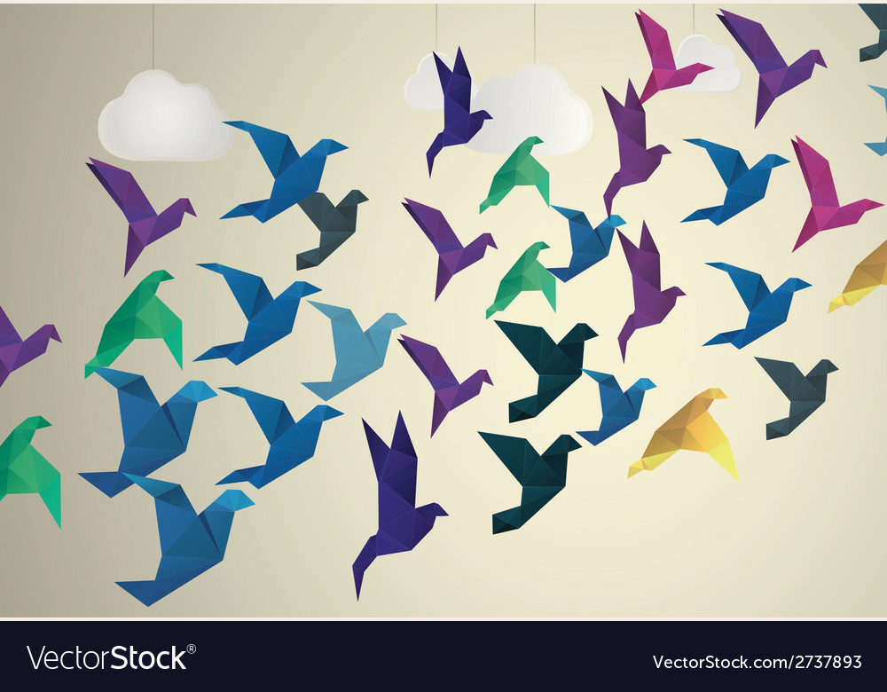 Origami birds flying and fake clouds background vector | Price: 1 Credit (USD $1)
