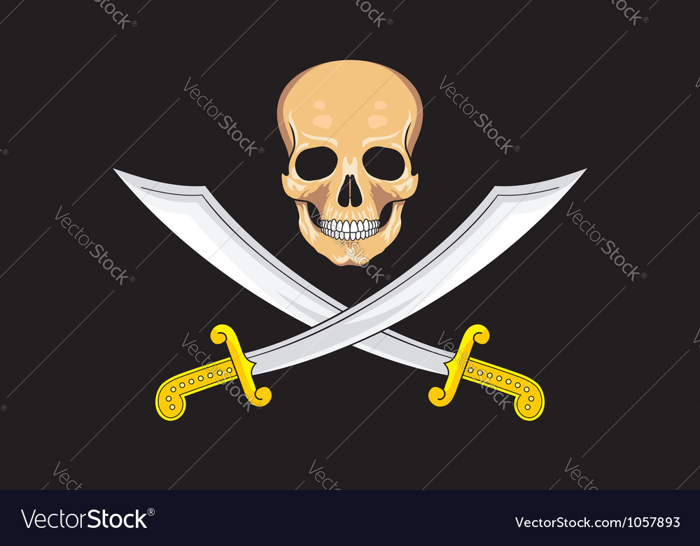 Pirate flag jolly roger vector | Price: 1 Credit (USD $1)