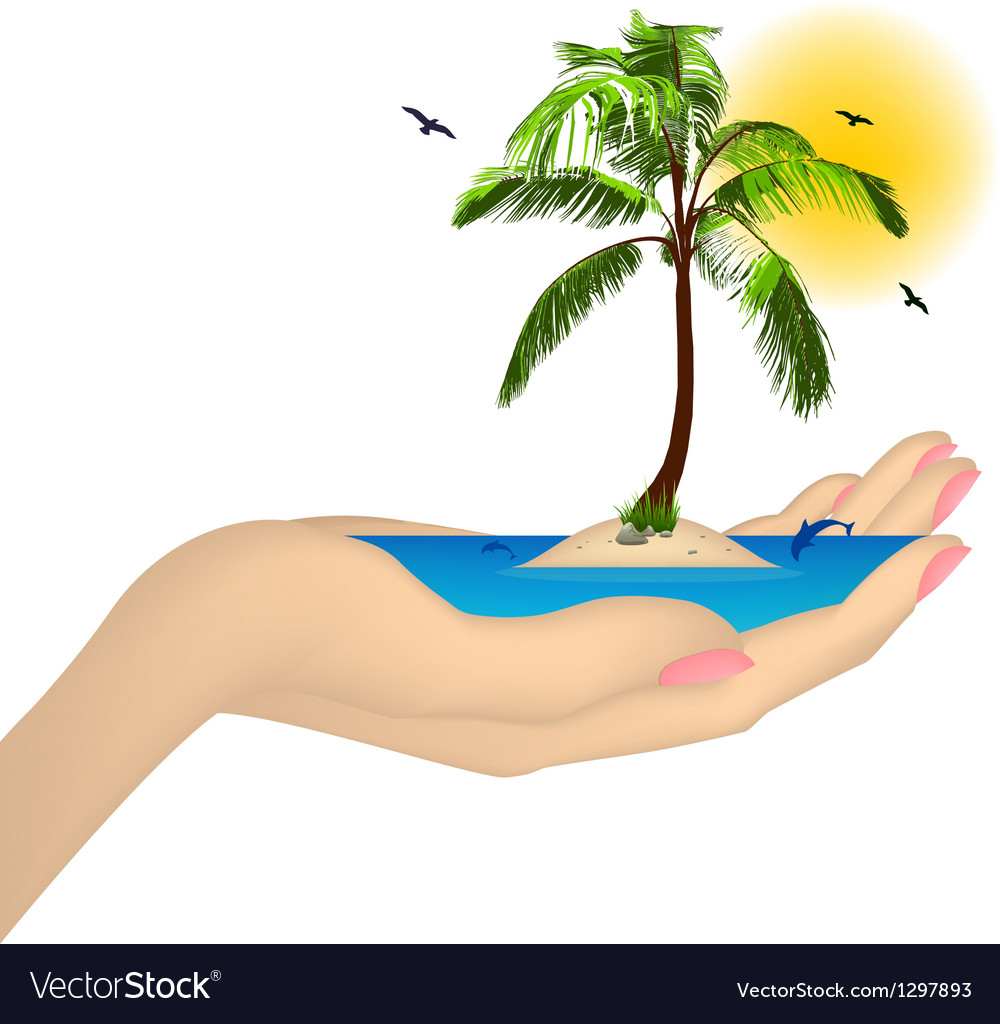 Sea island with palm in a female hand vector | Price: 1 Credit (USD $1)