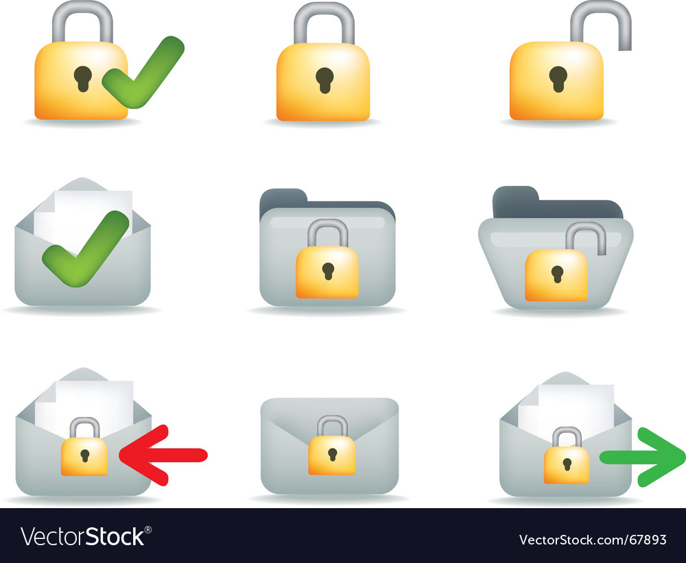 Secure mail icons vector | Price: 1 Credit (USD $1)