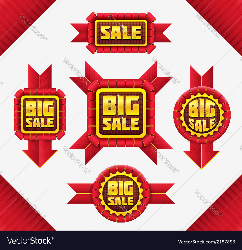 Set of red sale badges vector | Price: 1 Credit (USD $1)