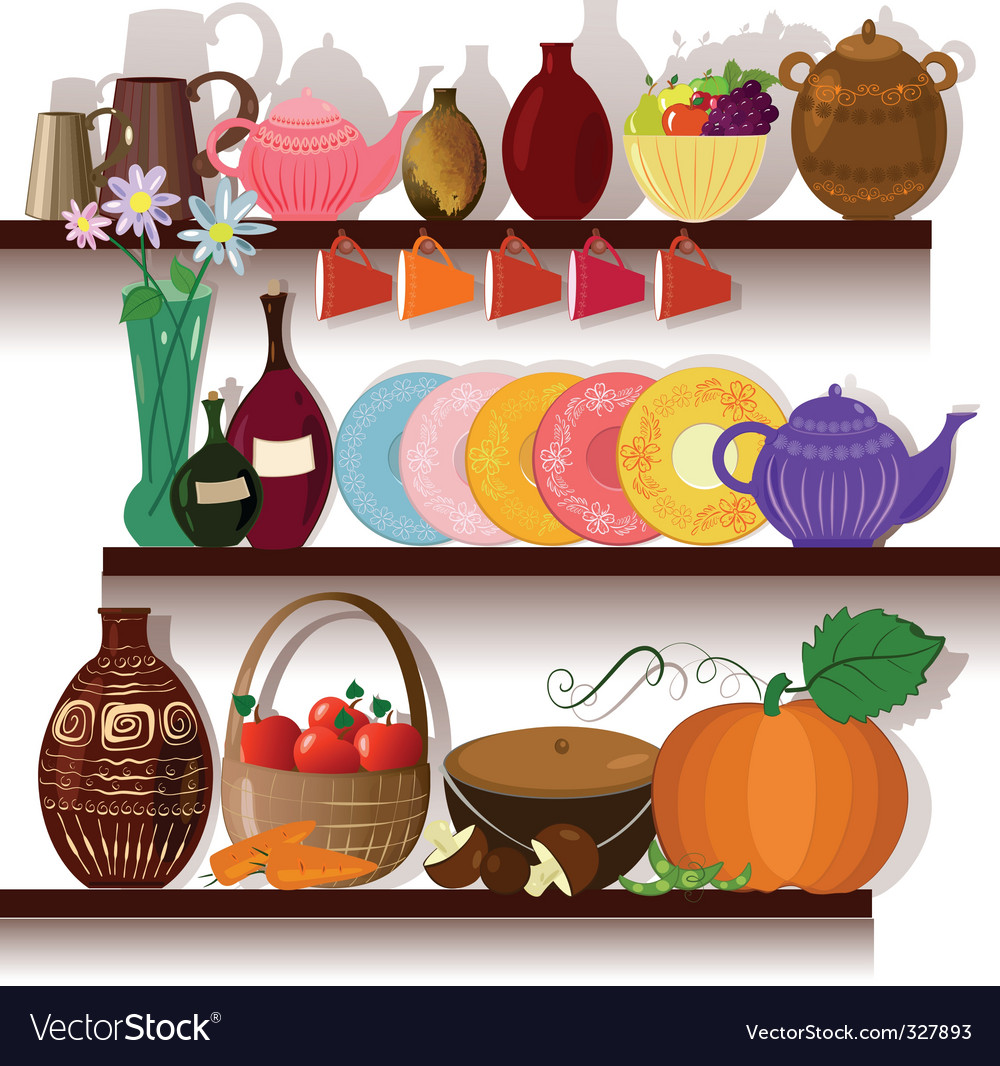 Tableware home on the shelves vector | Price: 1 Credit (USD $1)