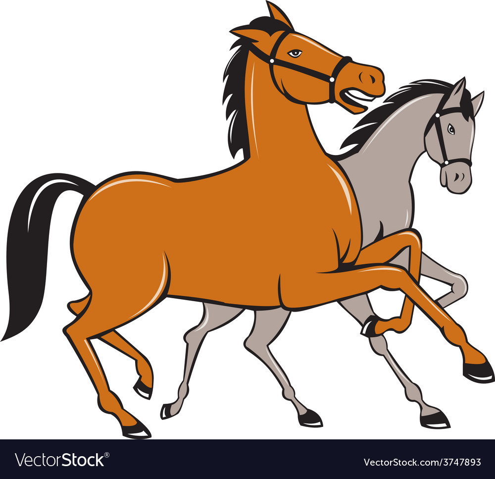 Two horses prancing side cartoon vector | Price: 1 Credit (USD $1)