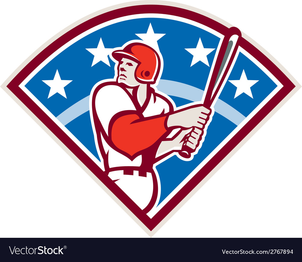 American baseball batter hitter bat diamond retro vector | Price: 1 Credit (USD $1)