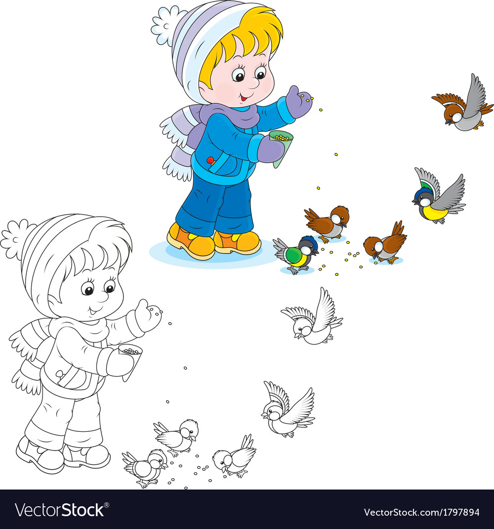 Child feeds birds vector   Price: 1 Credit (USD $1)