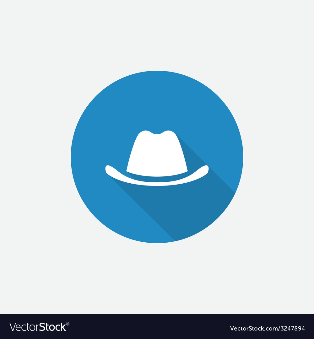 Classic hat flat blue simple icon with long shadow vector | Price: 1 Credit (USD $1)