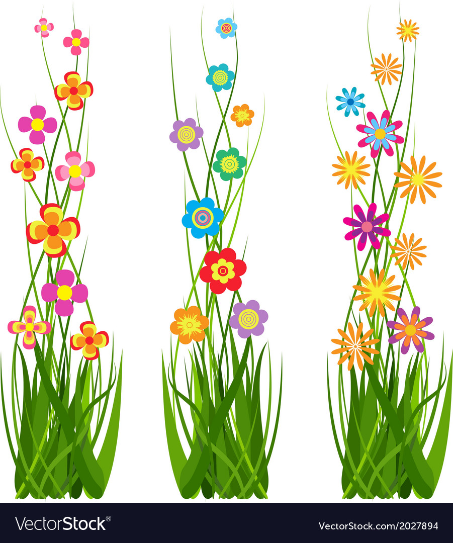 Collection grass and flowers vector | Price: 1 Credit (USD $1)