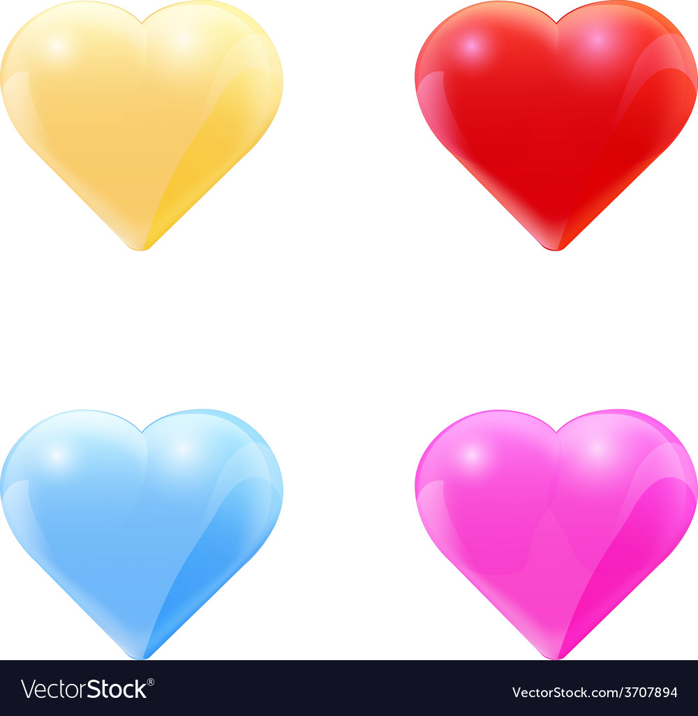 Colorful set of glass hearts vector | Price: 1 Credit (USD $1)