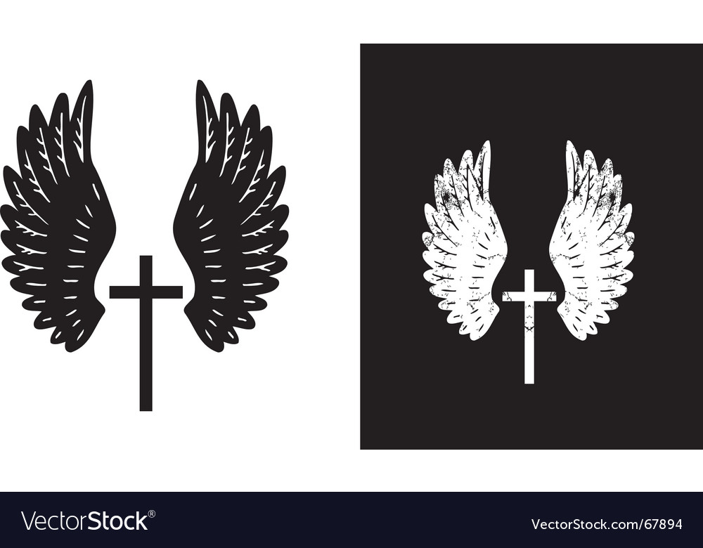 Cross and wings black vector | Price: 1 Credit (USD $1)