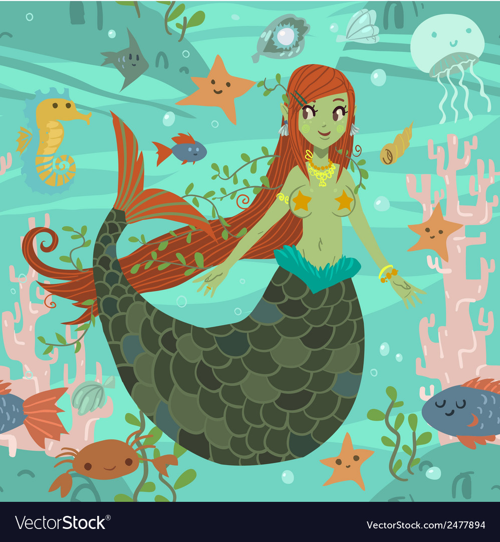 Cute awesome mermaid princess pattern vector | Price: 1 Credit (USD $1)