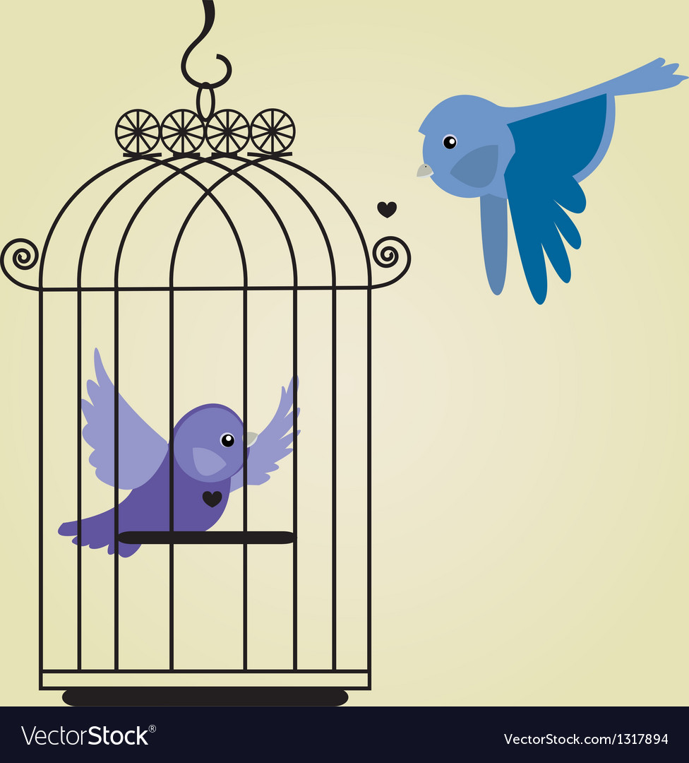 Cute bird in birdcage vector | Price: 1 Credit (USD $1)