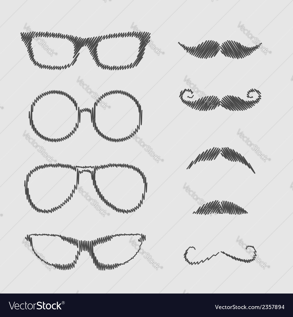 Glasses and mustache set isolated icons scribble vector | Price: 1 Credit (USD $1)