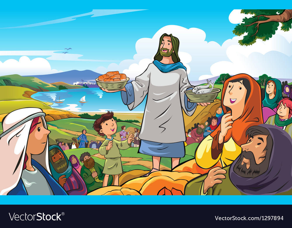 Jesus deliver food vector | Price: 3 Credit (USD $3)
