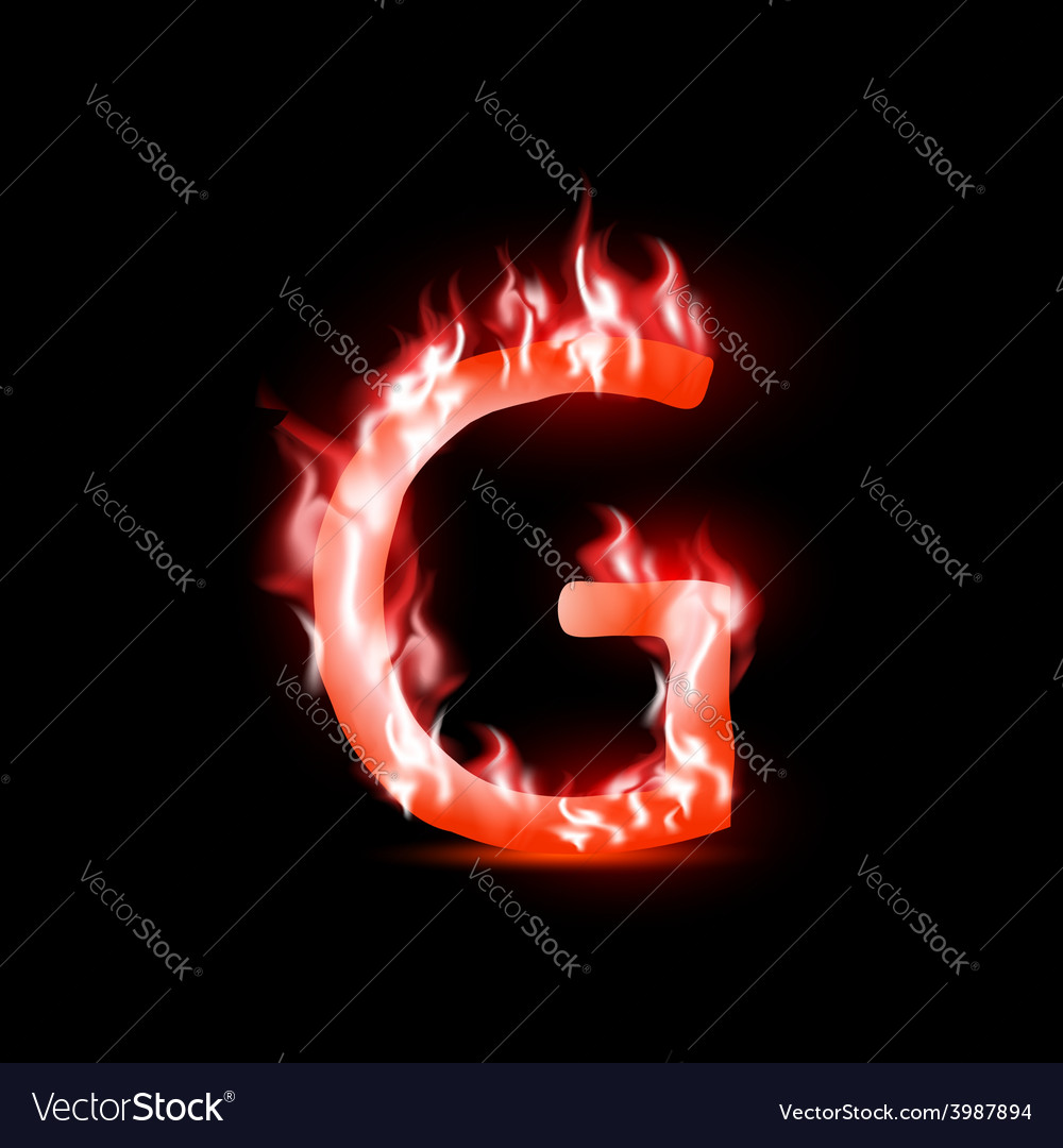 Letter with red fire vector | Price: 1 Credit (USD $1)