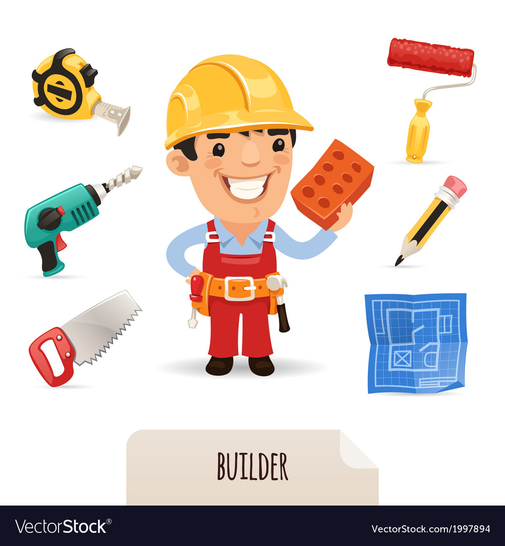 Male builder set vector | Price: 1 Credit (USD $1)