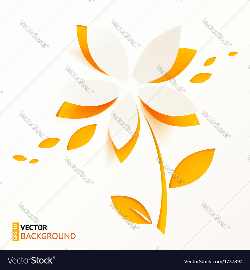 Orange paper flower greeting card template vector | Price: 1 Credit (USD $1)