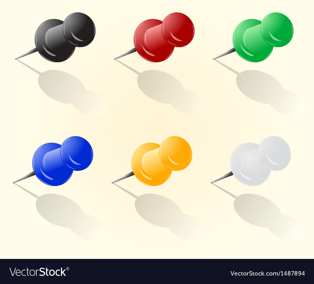 Push pin set vector | Price: 1 Credit (USD $1)