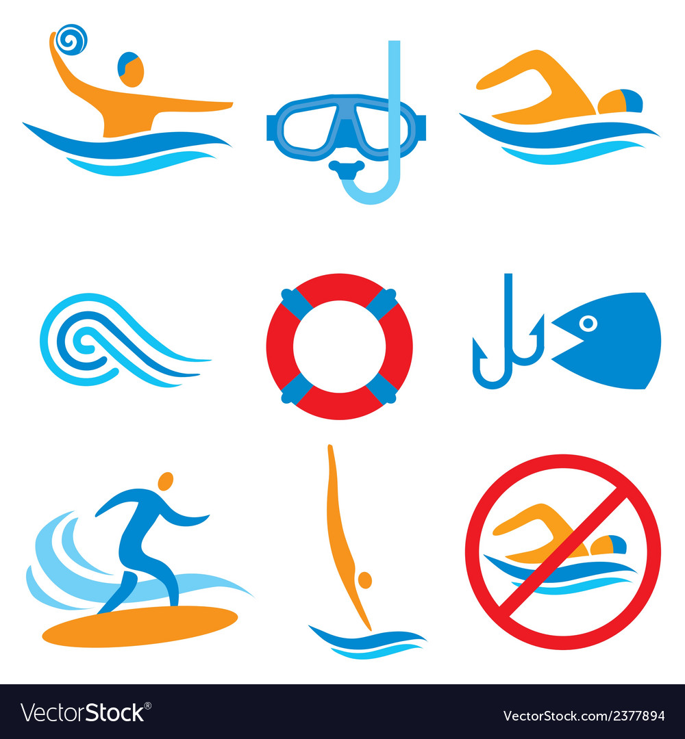 Water sport icons vector | Price: 1 Credit (USD $1)