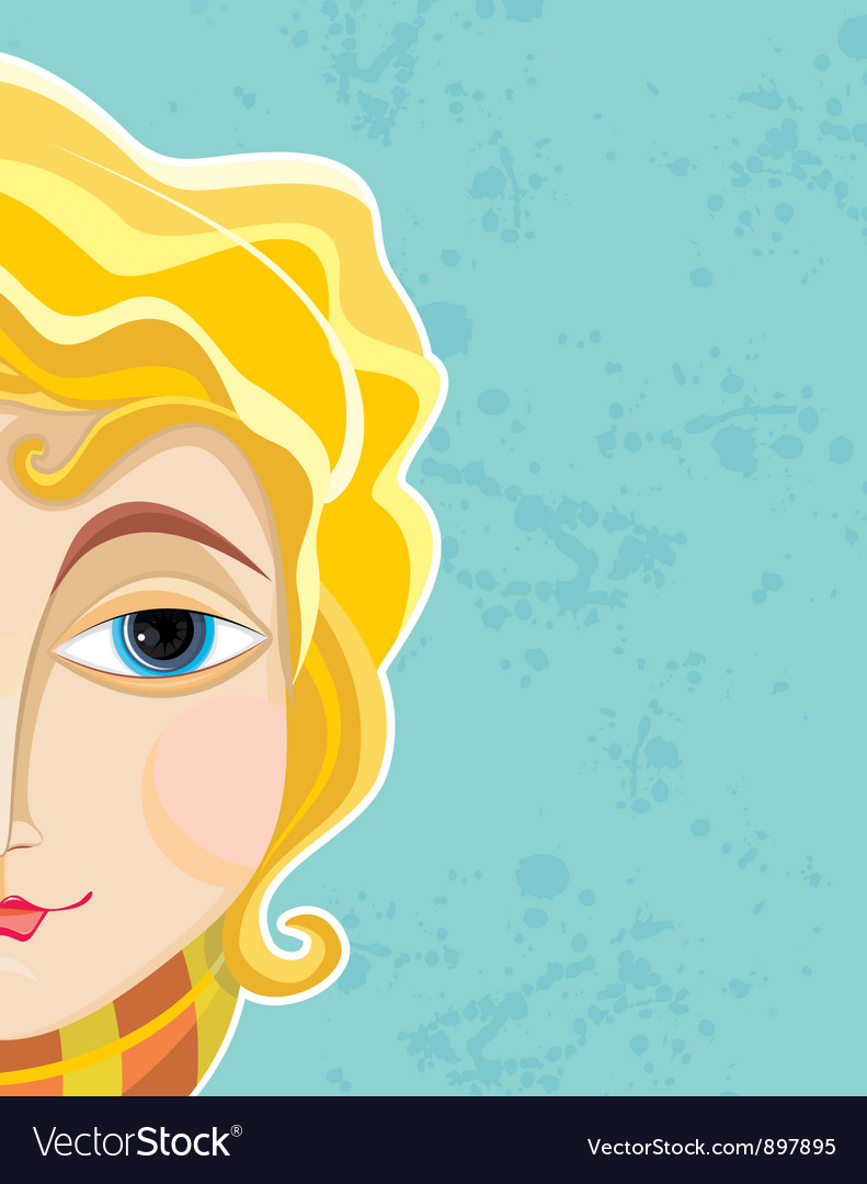 Blond girl face part close up vector | Price: 1 Credit (USD $1)