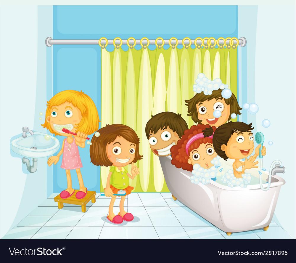 Children in bathroom vector | Price: 3 Credit (USD $3)