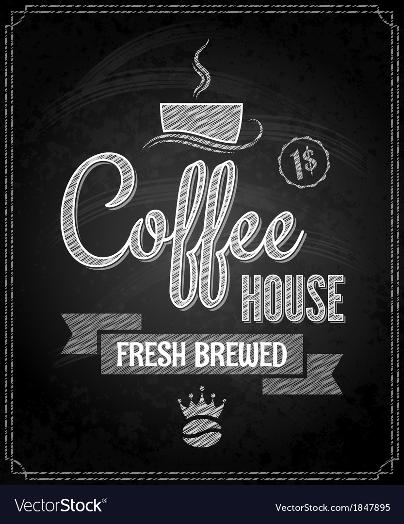 Coffee menu design chalkboard background vector | Price: 1 Credit (USD $1)