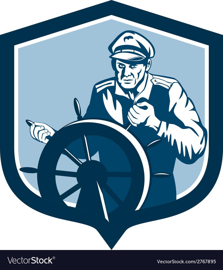 Fisherman sea captain shield retro vector | Price: 1 Credit (USD $1)