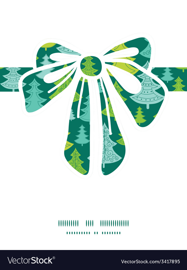 Holiday christmas trees gift bow silhouette vector | Price: 1 Credit (USD $1)