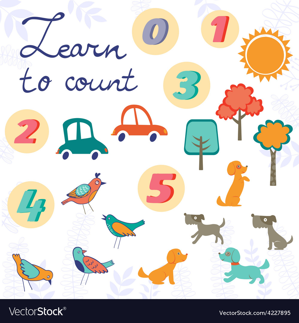 Learn to count concept set of cute graphic vector | Price: 1 Credit (USD $1)