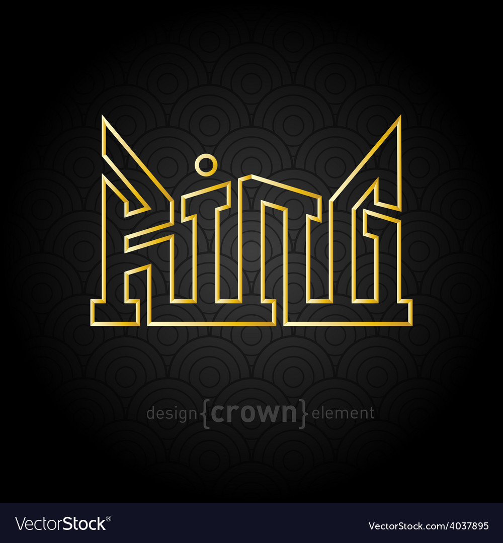 Luxury golden king crown made of thin lines on vector | Price: 1 Credit (USD $1)