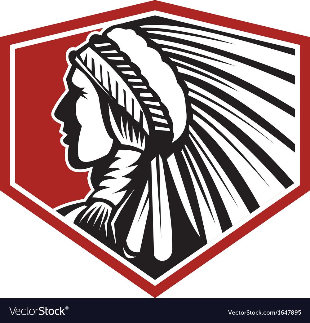 Native american indian warrior side retro vector   Price: 1 Credit (USD $1)