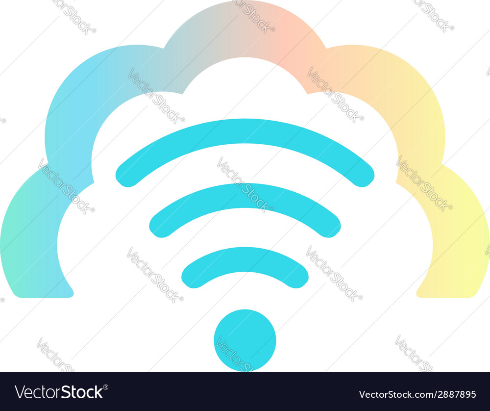 Wi fi icon in colored cloud vector | Price: 1 Credit (USD $1)