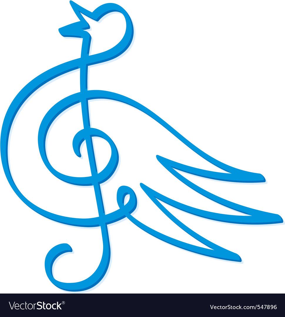 Blue bird music vector | Price: 1 Credit (USD $1)