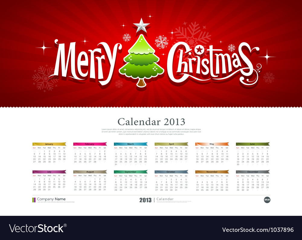 Calendar 2013 merry christmas vector | Price: 1 Credit (USD $1)
