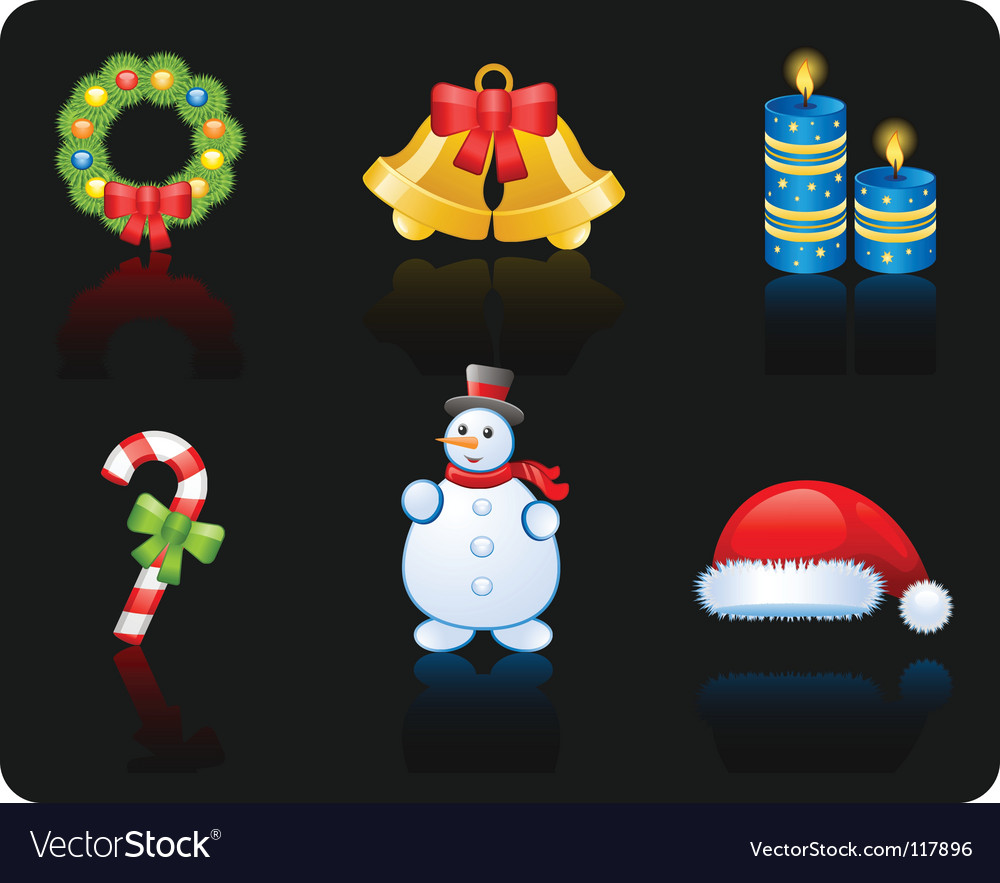 Christmas black background icon set vector | Price: 1 Credit (USD $1)
