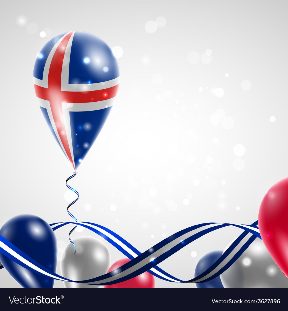 Flag of iceland on balloon vector | Price: 1 Credit (USD $1)