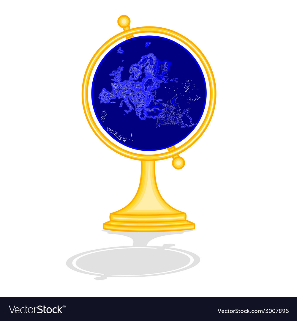 Globe europe at night as engraving vintage vector | Price: 1 Credit (USD $1)