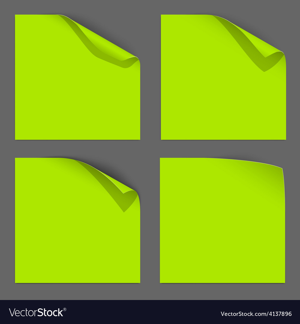 Green paper curled corner vector