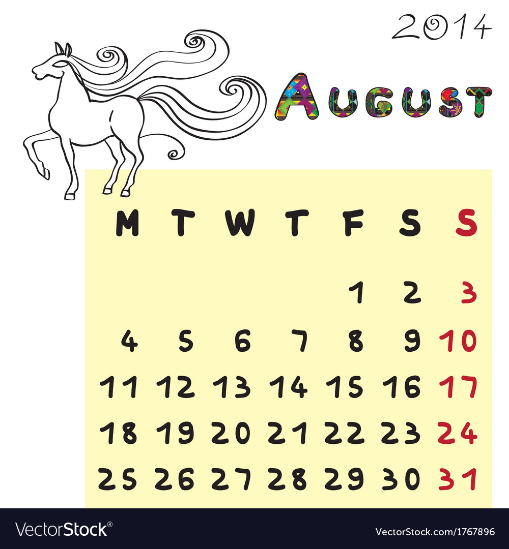 Horse calendar 2014 august vector | Price: 1 Credit (USD $1)