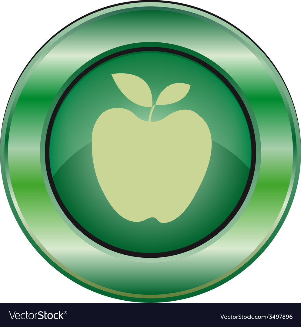 Icon green apple vector | Price: 1 Credit (USD $1)