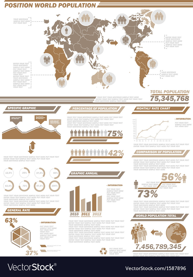 Infographic demographics population 2brown vector | Price: 1 Credit (USD $1)