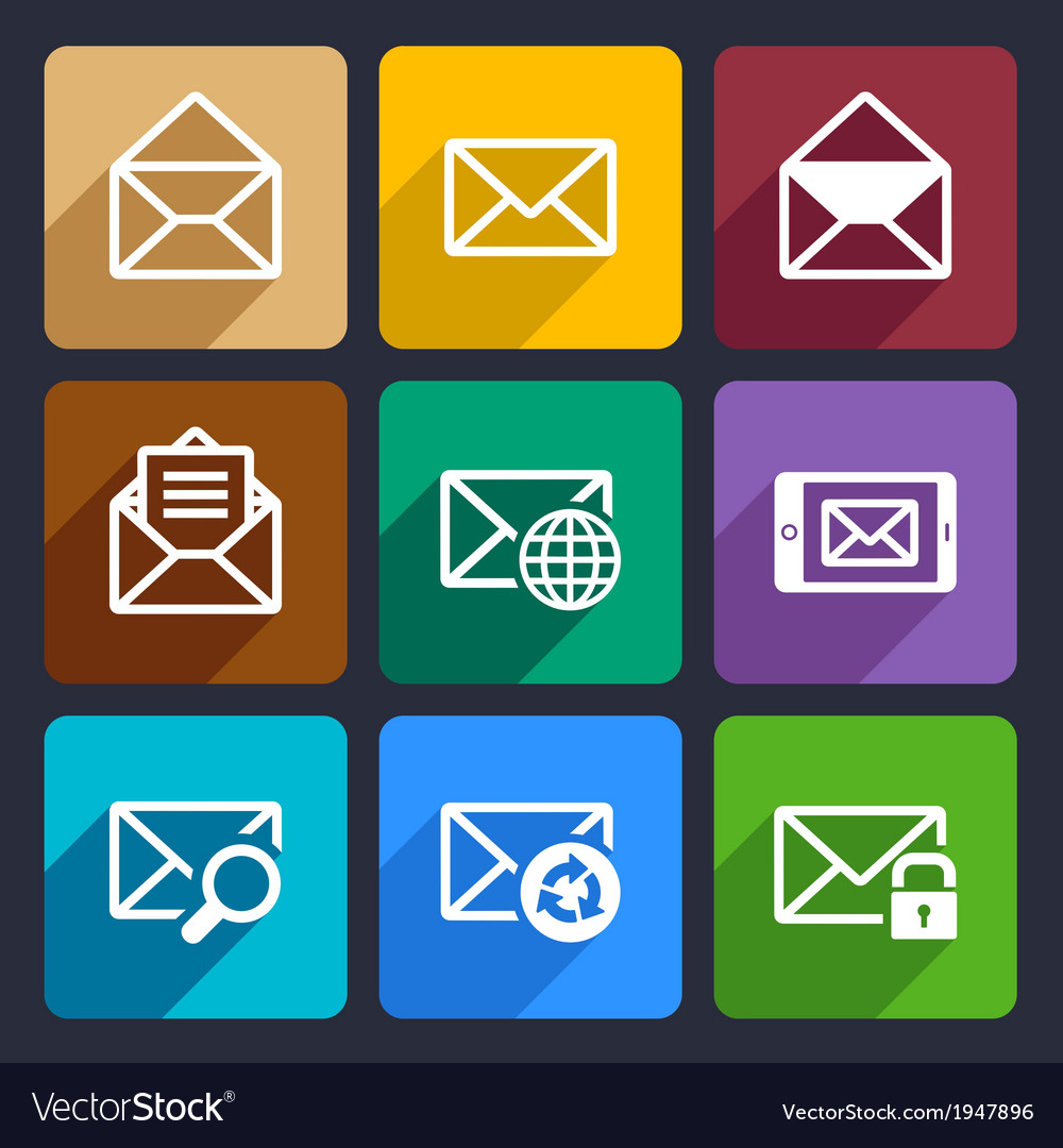 Mail flat icons set 47 vector | Price: 1 Credit (USD $1)