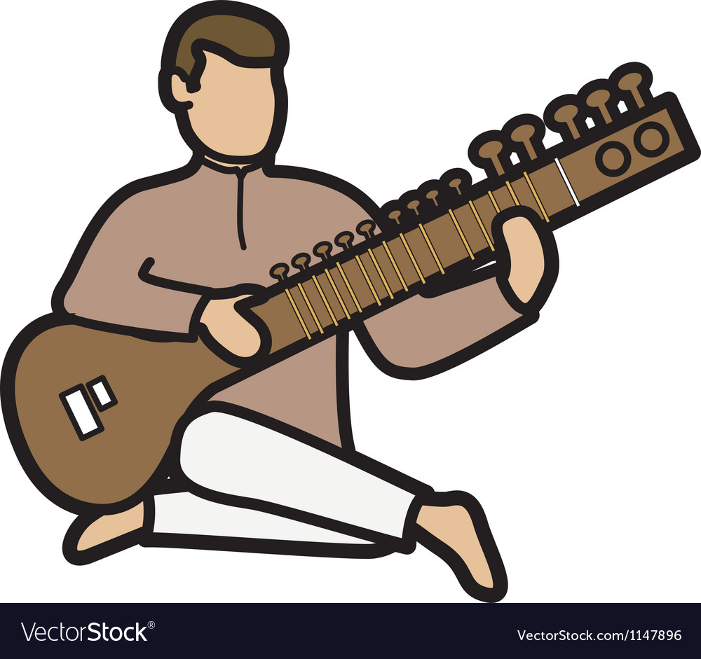 Man with sitar vector | Price: 1 Credit (USD $1)