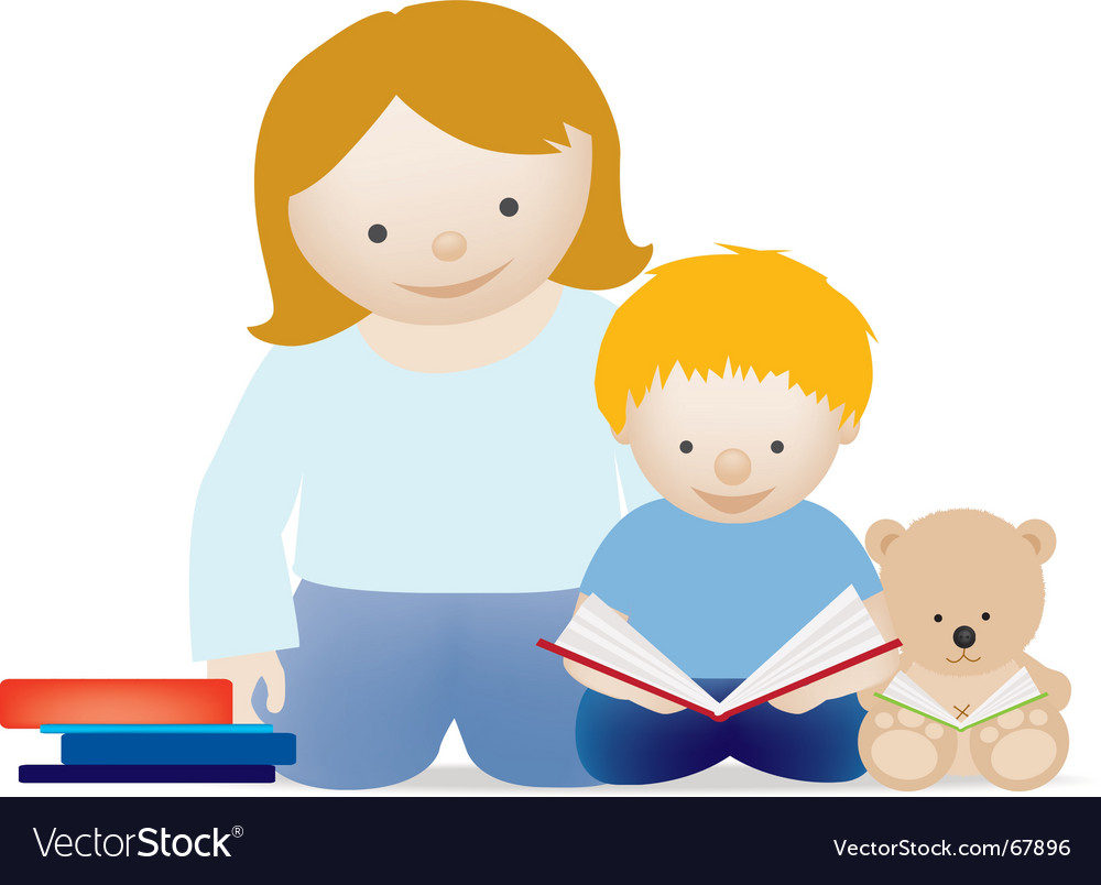 Mum and child read vector | Price: 1 Credit (USD $1)