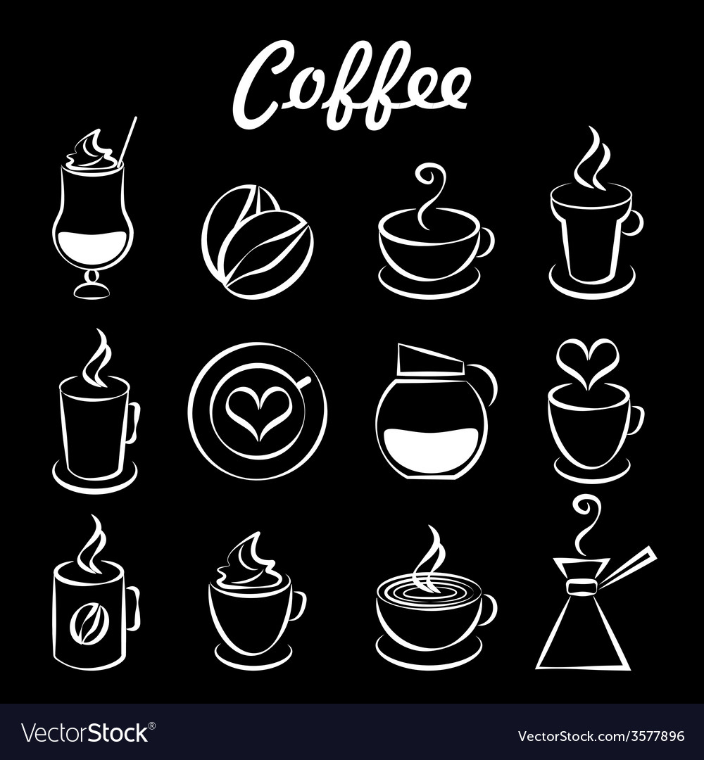 Set of coffee icons on black vector | Price: 1 Credit (USD $1)