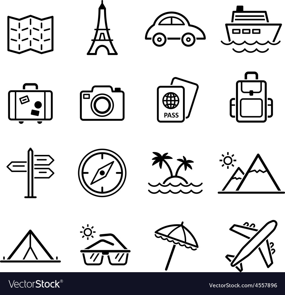 Travel symbols and tourism signs vector | Price: 1 Credit (USD $1)