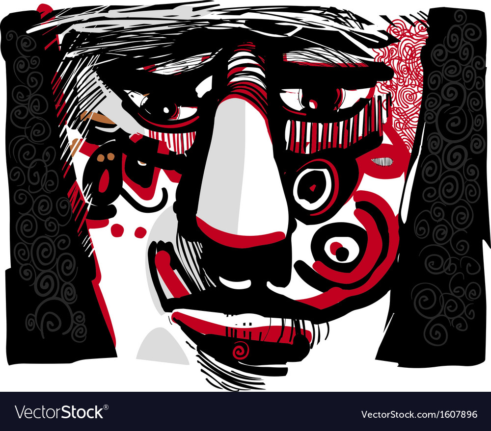 Tribal face artistic drawing vector | Price: 1 Credit (USD $1)