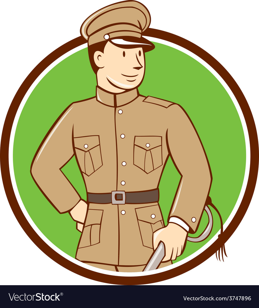 World war one british officer circle cartoon vector | Price: 1 Credit (USD $1)