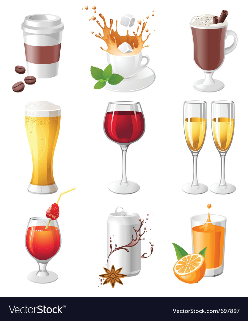 9 highly detailed drinks icons vector | Price: 3 Credit (USD $3)